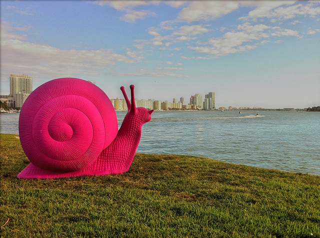 Art Basel Miami Beach Pink Snails Outdoor Art