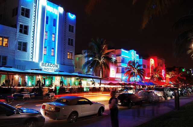 Neon Lighting: Beacon, Colony Hotels on Ocean Drive
