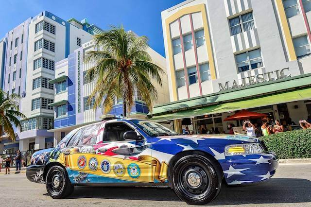 Ocean Drive Hotels and National Salute Police Car