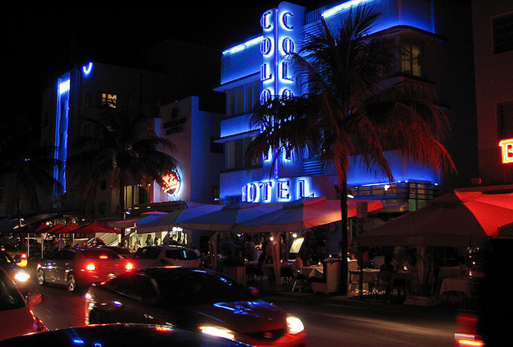 South Beach Ocean Drive at night