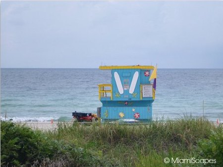 Views of 1st Street Lifeguard Tower from Miami Beachwalk