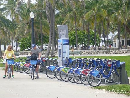 Bicycle rental rack at the Miami Beachwalk