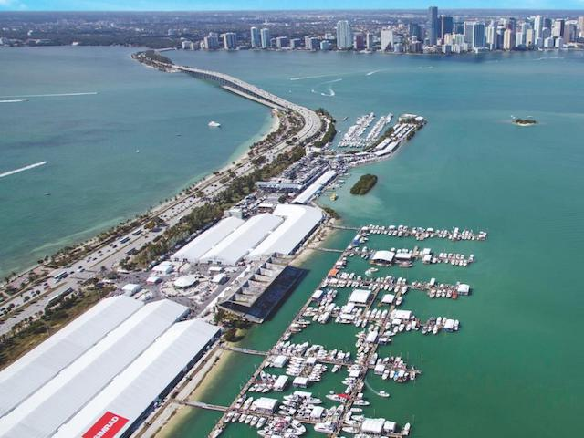 Aerial View of Miami Boat Show at Marine Stadium