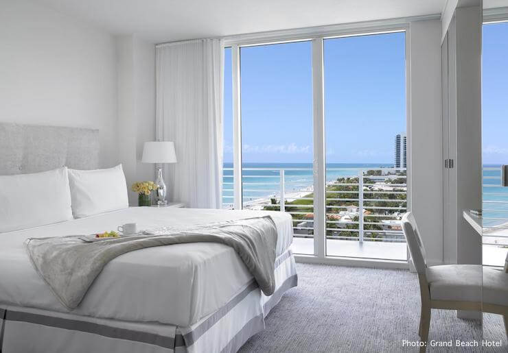 Bedroom with ocean views at Grand Beach Hotel Miami