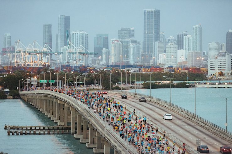 Miami Marathon Runners and Miami Skyline in background