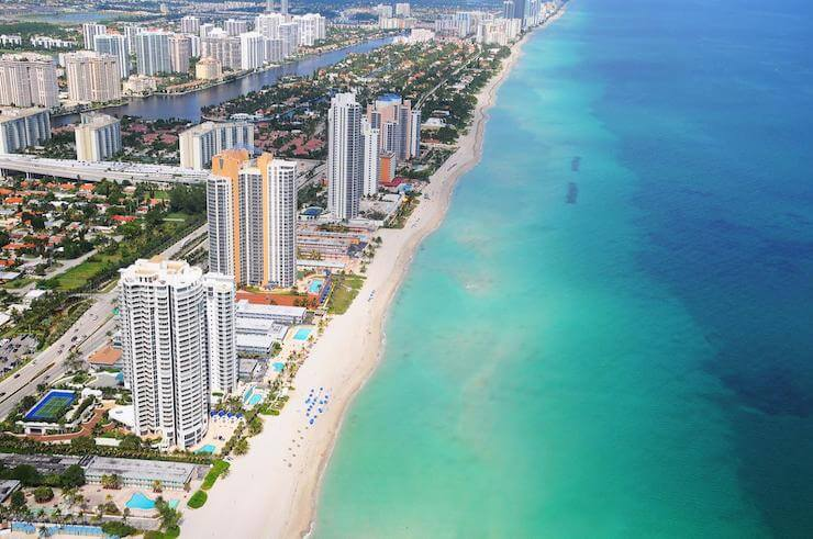 High rise hotels lining the Sunny Isles coastline