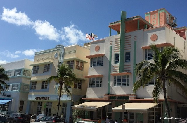 Art Deco Building Pastel Colors: Crescent and Mcalpin Hotels