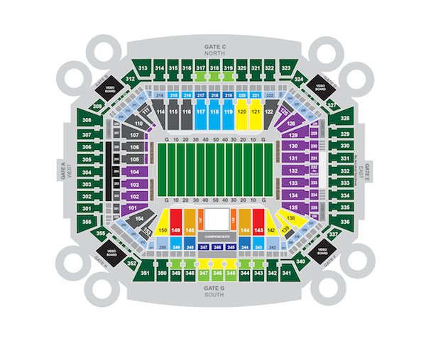 Hard Rock Stadium seating chart for football games