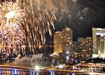 New Year's Eve Fireworks views from hotels along Biscayne Bay