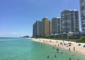 Sunny Isles Beach lined with high-rise hotels