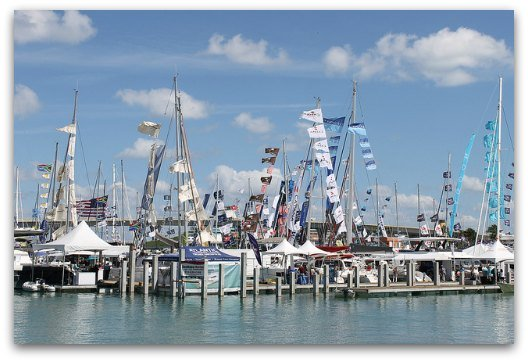 Hundreds of sailboats at StrictlySail at Miamarina at Bayside