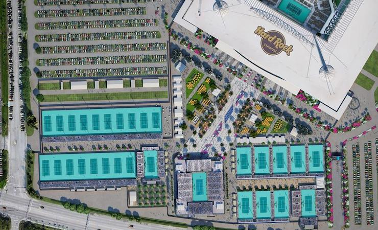 The New Miami Open facilities at Hard Rock Stadium: Tenis Plaza Practice Courts and Grandstand Stadium