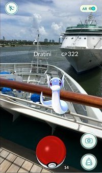 Catching Dratini on a boat at Port of  Miami